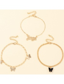 Fashion Black Alphabet Butterfly Alloy Chain Multi-layer Anklet