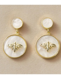 Fashion White Bee Resin Alloy Geometric Round Earrings