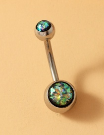 Fashion Black Stainless Steel Turquoise Alloy Resin Belly Button
