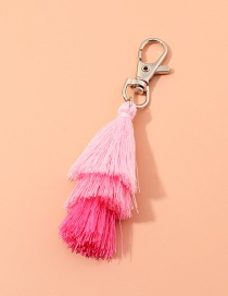 Fashion Pink Multilayer Wire Rope Tassel Contrast Color Alloy Keychain