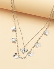 Fashion Silver Bee Butterfly Alloy Multilayer Necklace