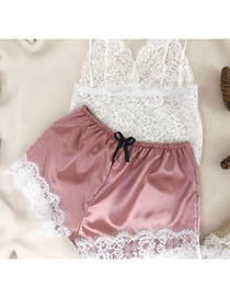 Fashion Pale Pinkish Gray Lace Transparent Stitching Bow Two-piece Home Pajamas