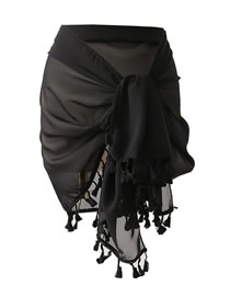 Fashion Black Sunscreen With Fringed Shawl