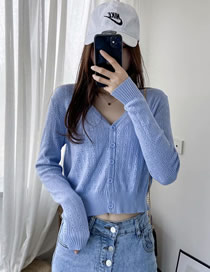 Fashion Blue Openwork Single-breasted V-neck Long Sleeve Knitted Cardigan