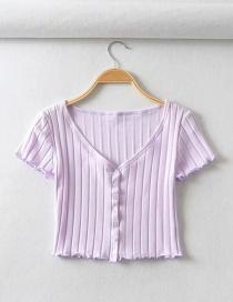Fashion Purple Single-breasted Chevron Slim V-neck T-shirt