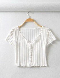 Fashion White Single-breasted Chevron Slim V-neck T-shirt