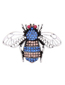 Fashion Blue Diamond-cut Hollow Anti-glare Insect Brooch
