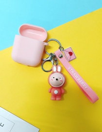 Fashion Pink Rabbit + Pink Headphone Case (1st Generation) Animal Apple Wireless Bluetooth Headset Silicone Case