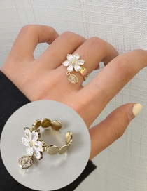 Fashion Zircon Flower (opening) (no. 7) Knotted Flower-set Zircon Alloy Open Ring