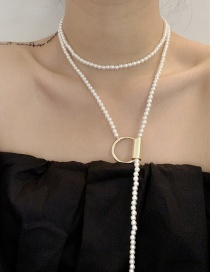 Fashion White Pearl Ring Multi-layered Winding Necklace
