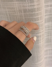 Fashion Inner Diameter Is About 1.7cm (no. 7) Diamond Hollow Alloy Ring