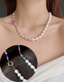 Fashion Color Mixing Irregular Freshwater Pearl And Colorful Bead Necklace