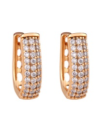 Fashion Rose Gold Copper-set Zircon Openwork Earrings