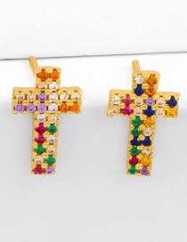 Fashion Colored Diamonds Cross Copper Inlaid Zircon Alloy Earrings
