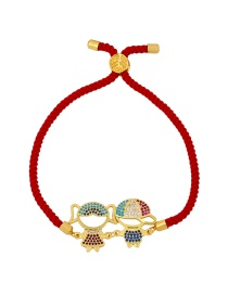 Fashion Boy Girl Red Rope Copper And Zircon Boy And Girl Alphabet Braided Rope Bracelet
