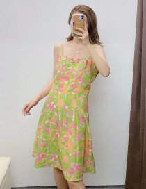 Fashion Green Floral Print Halter Dress