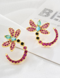 Fashion Color Copper-set Zircon Dragonfly Contrast Color Geometric Earrings