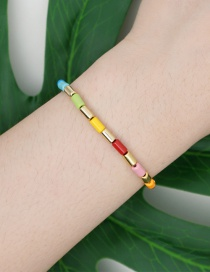 Fashion Golden Enamel Hand-made Zinc Alloy Paint Color Retention Bracelet