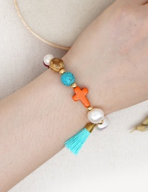 Fashion Color Mixing Natural Freshwater Pearl Gold Pearl Tassel Cross Emperor Stone Bracelet