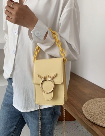 Fashion Yellow Vertical Section Vertical And Horizontal Acrylic Chain Shoulder Bag