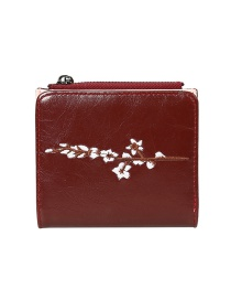 Fashion Red Flower Embroidery Multi-function Wallet