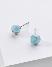 Fashion Light Green Natural Stone Winding Copper Wire Alloy Earrings