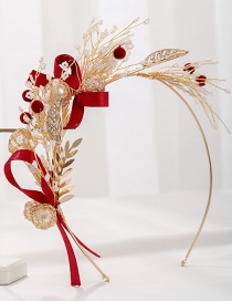 Fashion Red Handmade Crystal Flowers And Diamond Pearl Alloy Headband