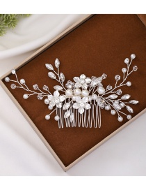 Fashion Silver Diamond Crystal Pearl Flower Insert Comb