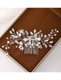 Fashion Silver Pearl Handmade Crystal Woven Alloy Insert Comb