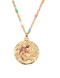 Fashion Dripping Golden Koi Diamond-studded Stainless Steel Necklace