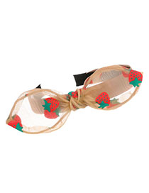 Fashion Khaki Mesh Yarn Strawberry Bow Knot Headband