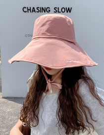 Fashion Pink Double-sided Solid Color Lattice Letter Embroidery Dual-purpose Fisherman Hat