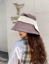 Fashion Coffee Color Wide-brimmed Sunscreen Color-block Patch Bow Fisherman Hat