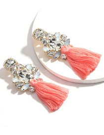 Fashion Pink Drop-shaped Diamond Glass Tassel Alloy Earrings