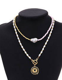 Fashion Golden Alloy Pearl Round Hollow Love Double Necklace