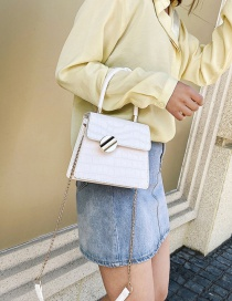 Fashion White Chain Shoulder Bag With Stone Pattern Lock