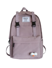 Fashion Light Purple Eyelet Backpack With Buckle Stitching Letters