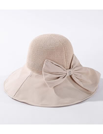 Fashion Beige Bowknot Knit Top Breathable Fisherman Hat