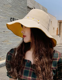 Fashion Rice + Yellow Daisy Fisherman Hat With Big Edge Embroidery On Both Sides