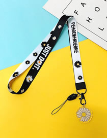Fashion Notched Daisy 【long Rope】 Printed Resin Flower Animal Widen Mobile Phone Lanyard