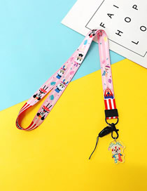Fashion Pink Circus 【long Rope】 Printed Resin Flower Animal Widen Mobile Phone Lanyard