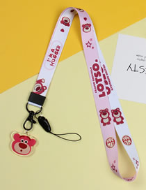 Fashion White Red Bear Mobile Phone Lanyard With Printed Animal Broadband Braid