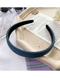 Fashion Ink Blue Sponge Solid Color Wide-brimmed Fabric Headband