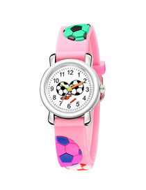 Fashion Pink 3d Relief Football Plastic Band Quartz Sport Children's Watch