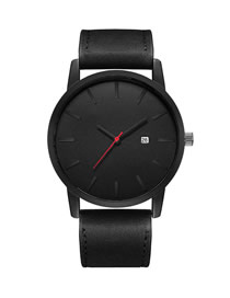 Fashion Black Belt Black Face Large Dial Calendar Frosted Belt Quartz Men's Watch