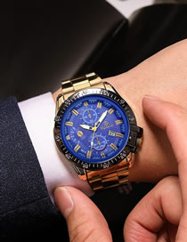 Fashion Blue Three Steel Straps And Large Dial Men's Watch