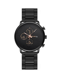 Fashion Black Rose Gold Needle Three Eyes Ultra Thin Quartz Men's Steel Band Watch