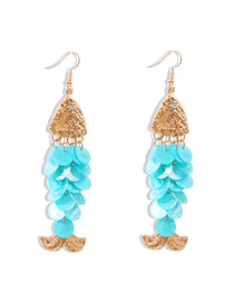 Fashion Blue Fish-shaped Shell Diamond Earrings