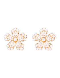 Fashion Pearl White Alloy Earrings Studded With Diamond Flowers