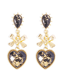 Fashion Black Gold Earrings With Butterfly And Glass Diamonds